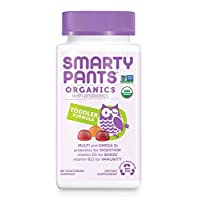 Daily Organic Gummy Toddler Multivitamin: Vitamin C, D3 & Zinc for Immunity, Omega 3 Fish Oil, Selenium, Biotin, B6, Methyl B12 for Energy by SmartyPants 60 Count (30 Day Supply) Packaging May Vary