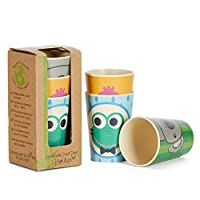 Coocootsa Toddler Cups Set, 3Piece Colorful Drinking Cup Set for Kids, Frog, Koala and Bird Funny Design – Eco Friendly and Reusable, Bamboo Fiber, Baby Shower Gift for Boys & Girls
