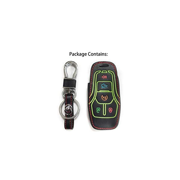 Glow in Dark Auovo Leather Key Fob Case for Ford F150 Smart Keyless Entry Remote Key Holder Cover Key Chain 5 Buttons Fits for 2013-2016 Ford Fusion Lincoln 2015-2017 Ford Mustang F-150 Explorer
