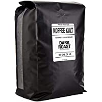 Koffee Kult Coffee Beans Dark Roasted - Highest Quality Delicious Organically Sourced Fair Trade - Whole Bean Coffee - Fresh Gourmet Aromatic Artisan Blend (80 Ounce)