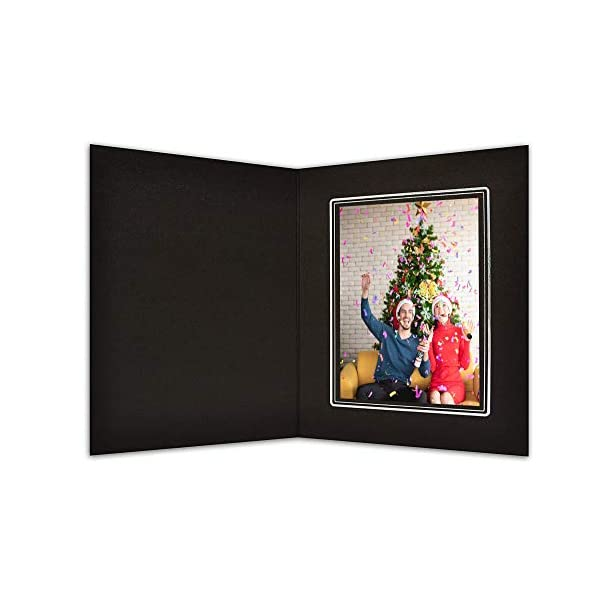 Cardboard Photo Folder for a 4x6 Photo GS001-S Black Color Golden State Art Pack of 100