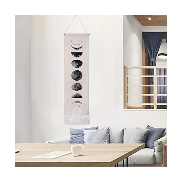 Martine Mall 12.99 x 52.75 Tapestry Wall Hanging Tapestries Nine Phases of the Full Growth Cycle of the Moon Wall Tapestry Cotton Linen Wall Art Modern Home Decor Black + White Moon Phase Change, 12.99 x 52.75