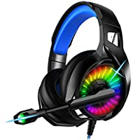 Nivava Gaming Headset for PS4, Xbox One, PC Headphones with Microphone LED Light Mic for Nintendo Switch Playstation Computer, K7 (Black&Blue)