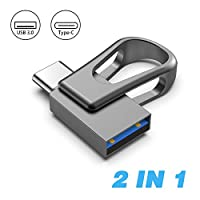 Sanfeya USB C Flash Drive 64GB, 2-in-1 USB 3.0 Thumb Drive, Dual USB Memory Stick Pen Drive for Type-C Android Smartphones Tablets and New MacBook, Black