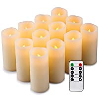 Enpornk Set of 12 Flameless Candles Battery Operated LED Pillar Real Wax Electric Unscented Candles with Remote Control Cycling 24 Hours Timer, Ivory Color