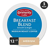 Community Coffee Breakfast Blend Medium Roast Single Serve, 12 Count, Compatible with Keurig 2.0 K Cup Brewers, Full Body Bold Taste, 100% Arabica Coffee Beans, 3 Pack