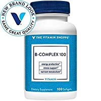 BComplex 100 – Supports Energy Production, Nervous System Function Nutrient Metabolism – Excellent Source of B1, B2, B6, B12, Niacin, Folic Acid Biotin (100 Softgels) by The Vitamin Shoppe