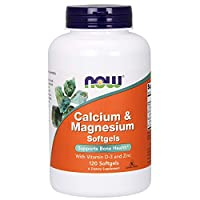NOW Supplements, Calcium & Magnesium with Vitamin D-3 and Zinc, Supports Bone Health*, 120 Softgels