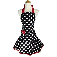 Violet Mist Women Apron Personalized Stylish Retro Lacy Vintage Flirty Maid Cooking Kitchen Working Aprons,Red2