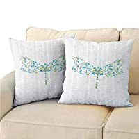 Xlcsomf Country Decor Decorative Pillow Covers, Macro Futuristic Digital Dragonfly Figure Made with Spots and Dots Dynamic Insect Print Easy to disassemble (2 PCS, 18x18 Inch) Blue Green