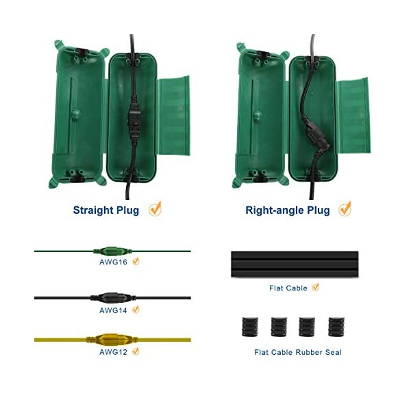 2 Pack of IP44 Outdoor Waterproof Box by Restmo Electrical Plug Green Holiday Decorations Power Tool Safety Connection Seal for Outdoor Outlet Weatherproof Extension Cord Cover LED Strip Light