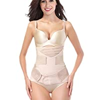 Postpartum Support Recovery Girdle Corset Belly Waist Pelvis Belt Shapewear Belly Wrap (Beige 3in1, Plus Size)