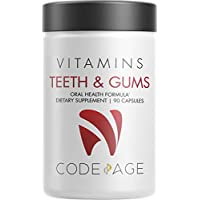 Codeage Teeth Gums & Bone Strength + Oral Probiotic Supplement for Mouth Throat Immunity Support Oral Dental & Bone Health - Plant-Based Calcium, Magnesium, Vitamin D3 C K2, Collagen - 90 Capsules