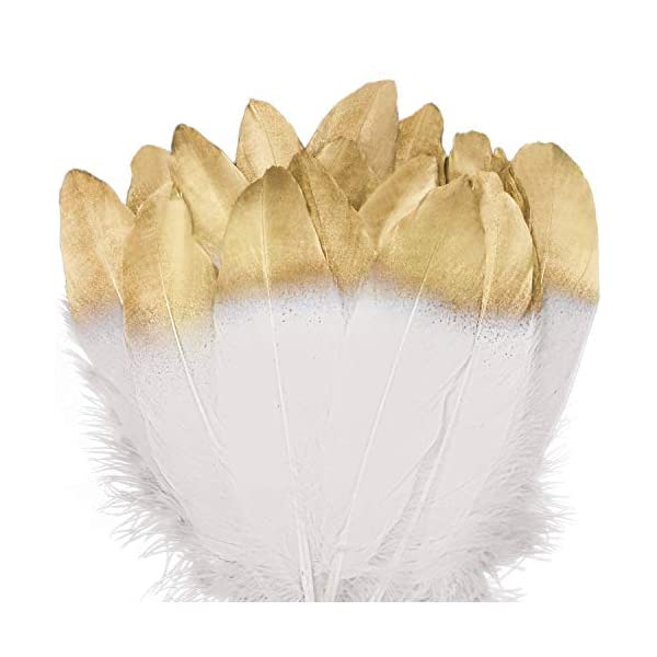 Birthday Parties Gold Dipped Wedding and Party Dress-ups Coceca 36PCS Gold Dipped Natural White Feathers for Various Crafts
