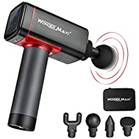 Massage Gun Deep Tissue Muscle Massager for Athletes, Cordless Handheld Percussion Massage Gun Trigger Points and Muscle Recovery for Sport Pain Relief (Black and Red)
