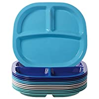 Harmony 3-Compartment Divided Plastic Kids Tray | set of 12 in 4 Coastal Colors