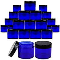 Beauticom 2 oz./ 60 Grams/ 60 ML (Quantity: 36 Packs) Thick Wall Round COBALT BLUE Plastic LEAK-PROOF Jars Container with BLACK Lids for Cosmetic, Lip Balm, Creams, Lotions, Liquids