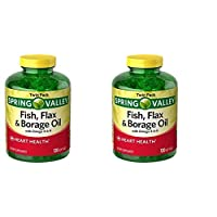 Spring Valley Fish, Flax & Borage Oil Dietary Supplement Softgels, 120 Count (Pack of 2)
