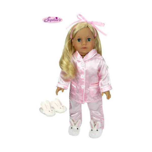 Fits 18 Inch American Girls Doll Clothes for 18 Inch Doll 4 Pc Shirt Jeans Doll Outfit Set of Pink Fur Vest and Fur Boots Made by Sophias