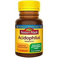 Nature Made Acidophilus Probiotics 1 Billion CFU Per Serving, 60 Tablets, for Digestive Balance and Gastrointestinal Health (Packaging May Vary)