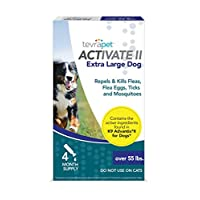 TevraPet Activate II Flea and Tick Prevention for Dogs - 4 Months Topical Flea and Tick Treatment and Control, 55+ lbs