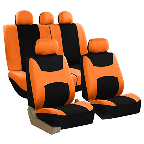 HORSE KINGDOM Universal Car Seat Covers Faux Leather With Air-mesh Orange For Women,Girls,Cars Trucks,Suvs,Sedans Breathable Airbag Compatible Black with Orange