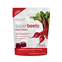 HumanN SuperBeets Heart Chews | Grape Seed Extract and Non-GMO Beet Powder Helps Support Healthy Circulation, Blood Pressure, and Energy, Super Beets Pomegranate-Berry Flavor, 60-Count