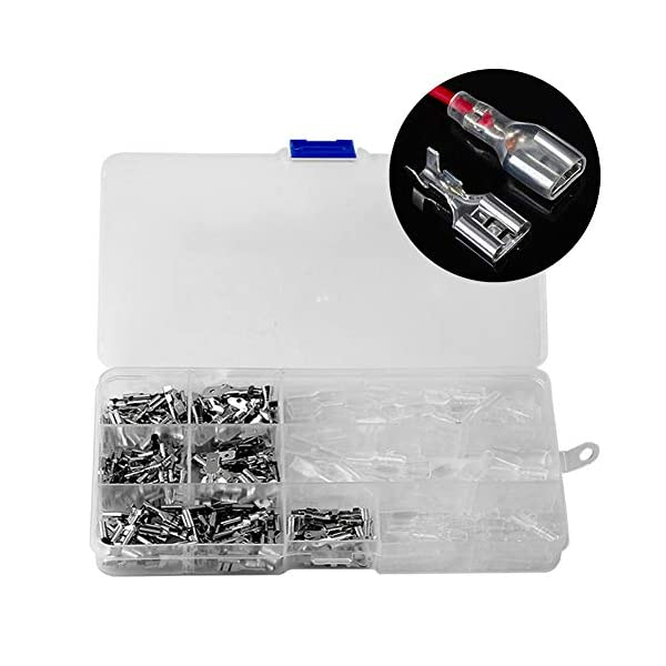 Terrans 300 Pcs Quick Splice Female Spade Connector Wire Crimp Terminal Block with Insulating Sleeve Assortment Kit 2.8mm 4.8mm 6.3mm