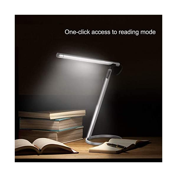 Aluminum-Magnesium Alloy, Minimalist Design Stepless Dimming Table Lamp,6 Color Modes Eye-Caring Reading Light with Timing Function Eyocean Touch Control Desk Lamp UL Adapter Included 7W Silver