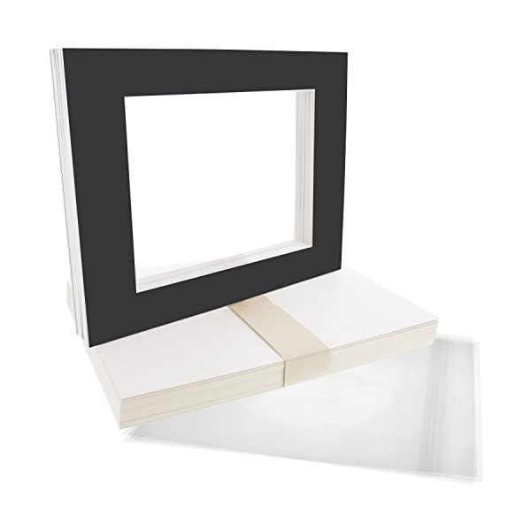 Includes a Pack of 50 White Core Bevel Cut Mattes for 5x7 Photos Pack of 50 Backers /& 50 Clear Sleeve Bags US Art Supply Art Mats Acid-Free Pre-Cut 8x10 White Picture Mat Matte Sets