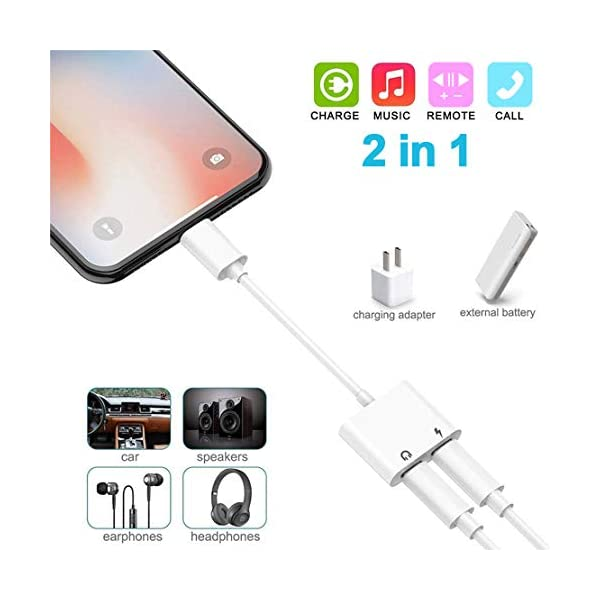 Double Dongle Adapter Cable for iPhone 7//7 Plus//8//8 Plus//X//Xs Headset Music&car Charger&Remote&Call Support 10.3 or Later Headphone Adapter for iPhone Splitter 2 in 1 Earphone Jack Aux Audio Charger