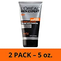 Mens Face Wash, Beard and Skincare for Men, L'Oreal Paris Skincare Men Expert Hydra Energetic Facial Cleanser with Charcoal for Daily Face Washing, 2 ct.