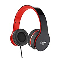 Elecder i40 Headphones with Microphone Foldable Lightweight Adjustable Wired On Ear Headsets with 3.5mm Jack for iPad Cellphones Laptop Computer Smartphones MP3/4 Kindle Airplane School (Red/Black)