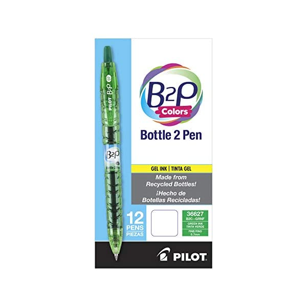 Bottle to Pen Refillable /& Retractable Rolling Ball Gel Pen Made From Recycled Bottles - 2 Pack Purple G2 Ink PILOT B2P Fine Point 31622 12 Count