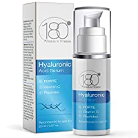 Hyaluronic Acid Serum for Face by 180 Cosmetics – Extra Strong for Age 40+ - w/Peptides - Vitamin C & E - 3 Layers of HA for Toned Plumped Hydrated Skin with Visibly Diminished Fine Lines & Wrinkles