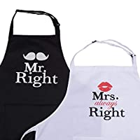 Homsolver Cute Black Chef BBQ Aprons -Great for Birthday, Christmas, New Year Eve,Thanksgiving Gifts for Your MOM (2 Pack, Mr. Right and Mrs. Always Right)