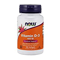 NOW Supplements, Vitamin D-3 400 IU, Strong Bones*, Structural Support*, 180 Softgels