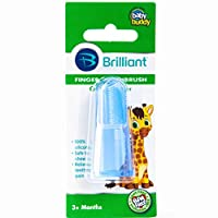 Brilliant Baby Finger Toothbrush - Silicone Gum Massager and Teether Brush for Babies and Toddlers - Kids Love Them, Blue, 1 Count