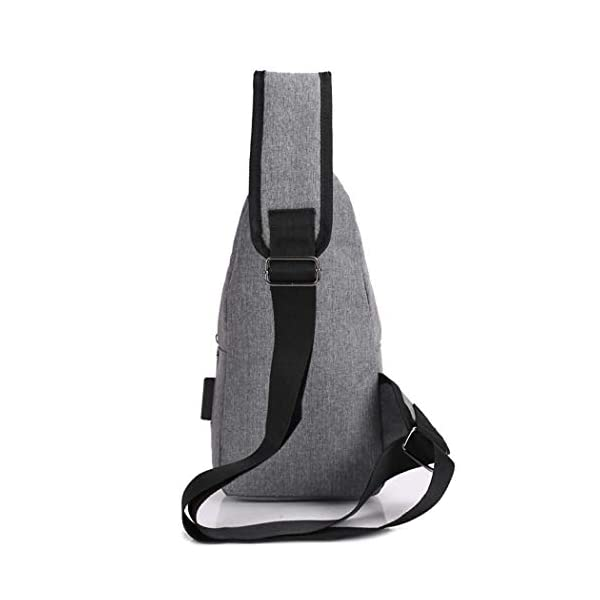 Mens Canvas USB Rechargeable Chest Bag Small Backpack Messenger Bags