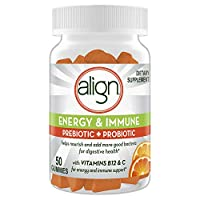 Align Energy and Immune Support Prebiotics and Probiotics Supplement for Digestive Health, 50 Gummies with Vitamins C and B12, Citrus Flavor (Packaging May Vary)