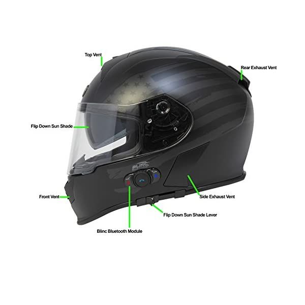Torc T14B Bluetooth Integrated Mako Full Face Helmet with Flag Graphic Flat Black, XX-Large