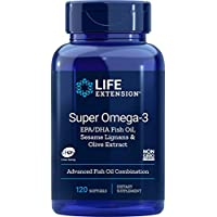 Life Extension Super Omega-3 (Fish Oil) EPA/DHA with Sesame Lignans & Olive Extract, 120 softgels (packaging may vary)