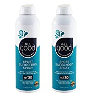 All Good Sport Mineral Sunscreen Spray - SPF 30 - Zinc Oxide - Coral Reef Safe - Water Resistant - UVA/UVB Broad Spectrum (6 oz)(2-Pack)