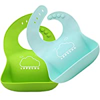 LOPE & NG Soft Silicone Feeding Bib Set Of 2 - Waterproof Adjustable Snaps Baby Bibs For Infants And Toddlers With Food Catcher Pocket (Light Green / Light Blue)
