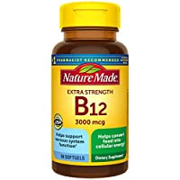 Nature Made Extra Strength Vitamin B12 3000 mcg Softgels, 60 Count (Packaging May Vary)