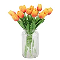 Muyee 12 Heads Artificial Tulips Flowers Real Touch Fake Tulips for Home Room Office Party Wedding Decoration, Excellent Gift Idea(12pcs,Sunset)