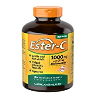 American Health Ester-C with Citrus Bioflavonoids Veg Tablets - 24-Hour Immune Support, Gentle On Stomach, Non-Acidic Vitamin C - Non-GMO, Gluten-Free, Vegan - 1000 mg, 180 Count, 180 Servings