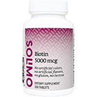 Amazon Brand - Solimo Biotin 5000 mcg - Hair, Skin, Nails - 300 Tablets, Value Size (10 Month Supply)