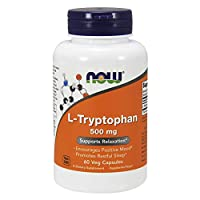 NOW Supplements, L-Tryptophan 500 mg, Encourages Positive Mood*, Supports Relaxation*, 60 Veg Capsules