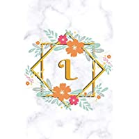 L: Sketchbook | Cute Floral Initial Monogram Drawing Book for Artists | Fancy Personalized Doodling Pad for Students for Girls & Women | White Marble Golden Flower Frame - Letter L